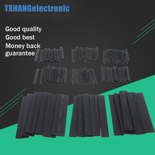 цена на 328Pcs/set Sleeving Wrap Wire Car Electrical Cable Tube kits Heat Shrink Tube Tubing Polyolefin 8 Sizes black