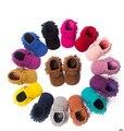 Caliente de LA PU de Cuero de Gamuza Bebé Recién Nacido Niño Niña Bebé Mocasines Soft Moccs Zapatos Bebe Franja antideslizante Calzado de Suela Blanda Cuna zapato