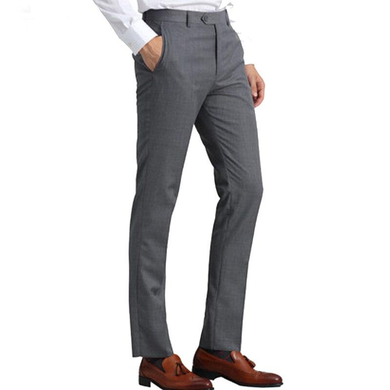 Light Gray Men Suit Pants Slim Fit Men Trousers Office Big Size Business Classic Mens Office Pants