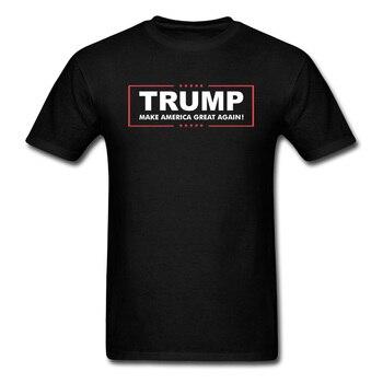 Donald Trump Tshirt męskie koszulki z nadrukiem czarna koszulka-koszula spraw, by ameryka znów była potęgą T Shirt ubrania w litery 4 lipca bawełniana koszulka