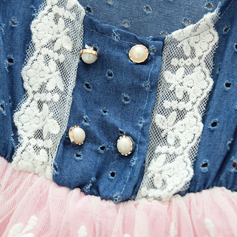 Moda dulce princesa Girls Jeans Jumper Vestido de verano encaje en ...