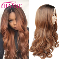 Body Wave Black to brown Ombre Synthetic Wigs ombre body wave Heat Resistant Freetress Hair Long Synthetic Hair Wigs For Women