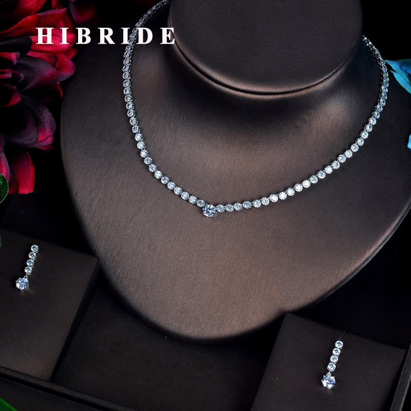 HIBRIDE New Luxury Micro CZ Pave Women Jewelry Sets Earring Necklace Set Bridal Wedding Jewelry Set Accessories N-615
