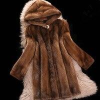 High imitation mink fur coat faux fur jacket female winter new long hooded mink outwear long sleeve slim overcoat L1316 freeship