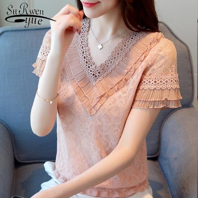 Fashion women blouses 2018 summer lace women tops blusas feminina lace women shirt short sleeve lace women blouse shirt 0398 30