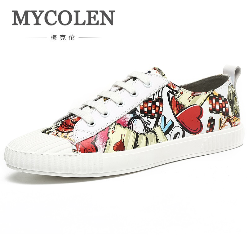 MYCOLEN 2018 New Style Men Fashion Casual Shoes Canvas Male Footwear Comfortable Flat Shoes Lace-Up Print Men Shoes Schuhe zte zte blade v8 32gb