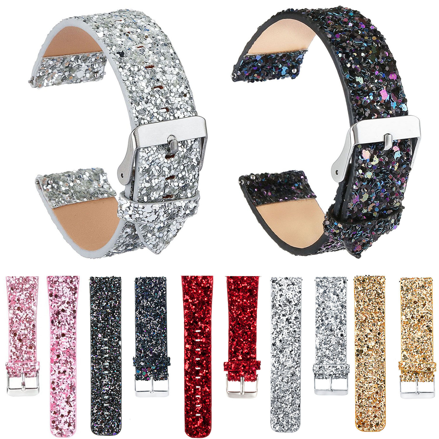 Shiny PU Leather Strap For Xiaomi Huami Amazfit A1602 Band Glitter Christmas Watchbands 22mm Replacement Bracelet