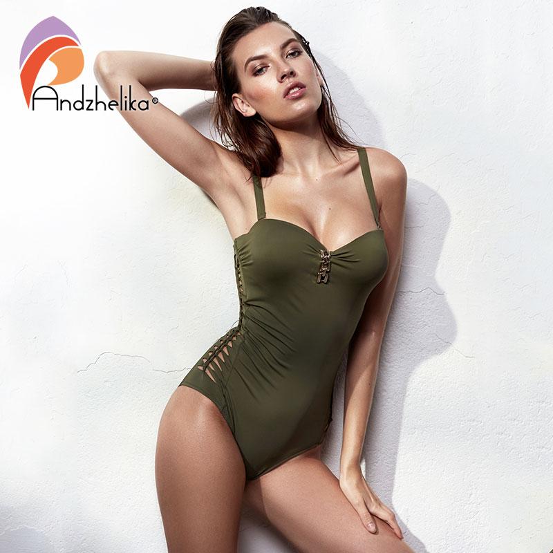Andzhelika Bandeau Swimear 2018 One Piece Suits Sexy Bodysuit Swimsuit Bandage Halter Bathing Suit Solid Crochet Bathing Suits