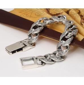 Image 4 - Czyste srebro S925 ciężki gruby rzeźbiony Link Chain Flat crosss bransoletka lite srebro bransoletka srebro 925 biżuteria srebrna