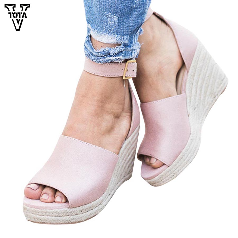 VTOTA Fashion Women Wedges Sandals Summer Gladiator Woman Shoes Platform High Heels Buckle Strap Sandalias Zapatos Mujer MNS