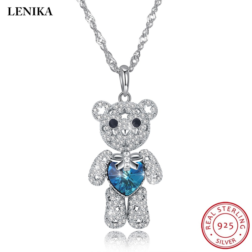 LEKANI Necklaces For Women Fashion Lovely Bear Crystals From Swarovski Necklaces Pendants Real 925 Silver
