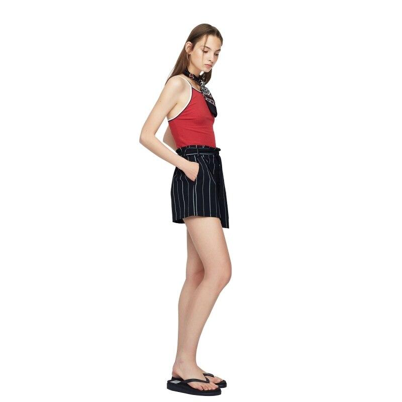 HDY Short Femme 2019 Women High Waisted Wide Leg Short Stripe Elastic Waist Shorts Feminino Plus Size haoduoyi Shorts Women M (3)