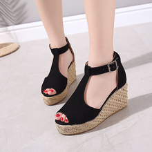 Sandals Women Wedges Summer Outdoor Shoes High Heels Plus Size 43 Buckle Strap Peep Toe Platforms