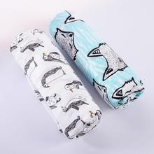 2pcs / Set Muslin Cotton Baby Swaddles 120 * 120cm Nyfødte Baby Tæpper Enkeltlagsgas Badehåndklæde Hold Wraps Modtage Tæppe