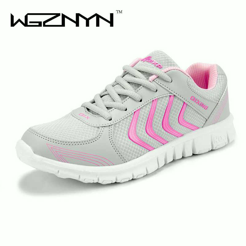 WGZNYN Fast delivery Women casual shoes fashion breathable Walking mesh lace up flat shoes sneakers women 2018 tenis feminino summer outdoor walking shoes women sneakers breathable flat mesh vulcanize shoes fashion comfortable women casual shoes ddt103