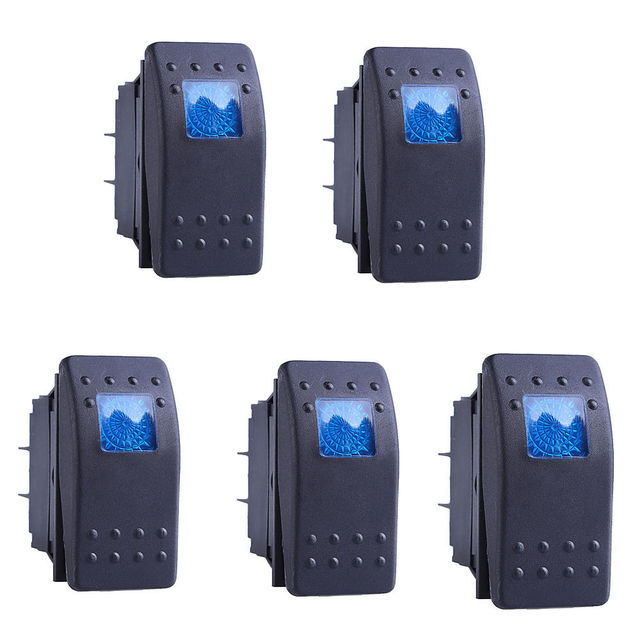 5 Pcs 12V 20A Push Button Switch ON OFF 4 Pin Blue LED Light Universal Car Auto Marine Boat Waterproof Rocker Switches 4P ON-OFF