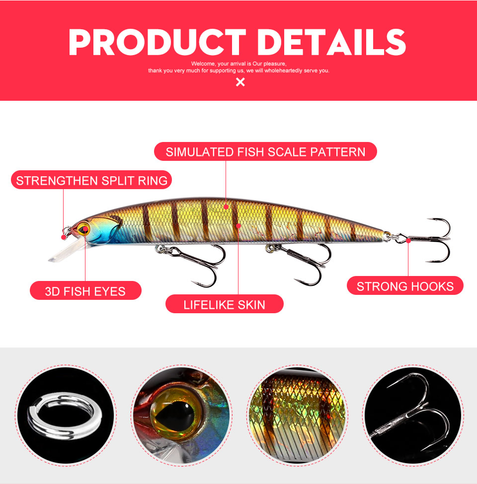 _03 Sea Fishing Lures Artificial Minnow Decoy 130mm 20g Wobblers Topwater Floating 0.5m-1.5m Plastic Lip Bass Pike Hard Jerkbait3523