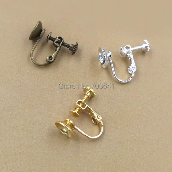 8mm 원형 베젤 클립이있는 빈 귀걸이베이스 스크류 귀걸이 결과 비 피어싱 귀를위한 설정 혼합 색상 도금-에서보석 재료 & 부속품부터 쥬얼리 및 액세서리 의  그룹 1