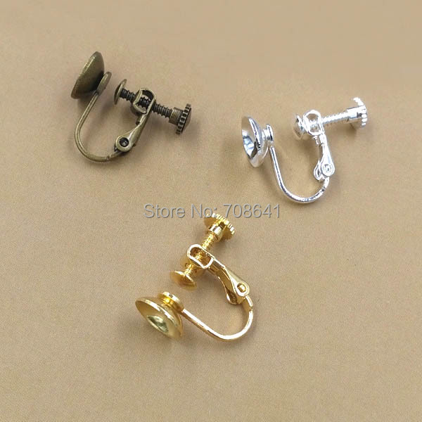 Puste kolczyki podstawy z 8mm koło Bezel klip na śruby kolczyk ustawienia ustawienia dla nie przebitych uszu mieszane kolory pozłacane w Wykończenia i elementy biżuterii od Biżuteria i akcesoria na  Grupa 1
