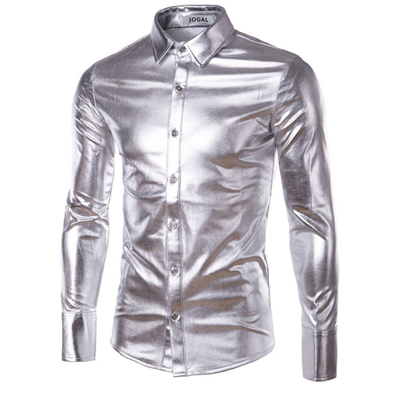 Mens Trend Night Club Coated Metallic Halloween Gold Silver Button ...