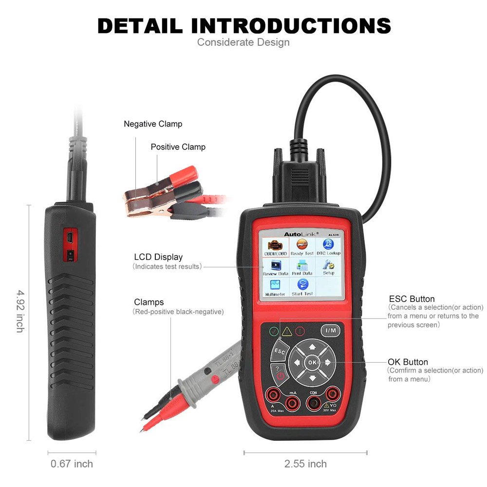 Image 5 - Autel Autolink AL539B OBD2 scanner automotive Electrical Test Tool For odb2 diagnostic tool EOBD OBD 2 car Code Reader PK al539-in Code Readers & Scan Tools from Automobiles & Motorcycles