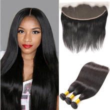 Brazilian Straight Hair With Closure 3Bundles Brazillian Hair With Closure Queen Hair Products Lace Frontal Closure With Bundles