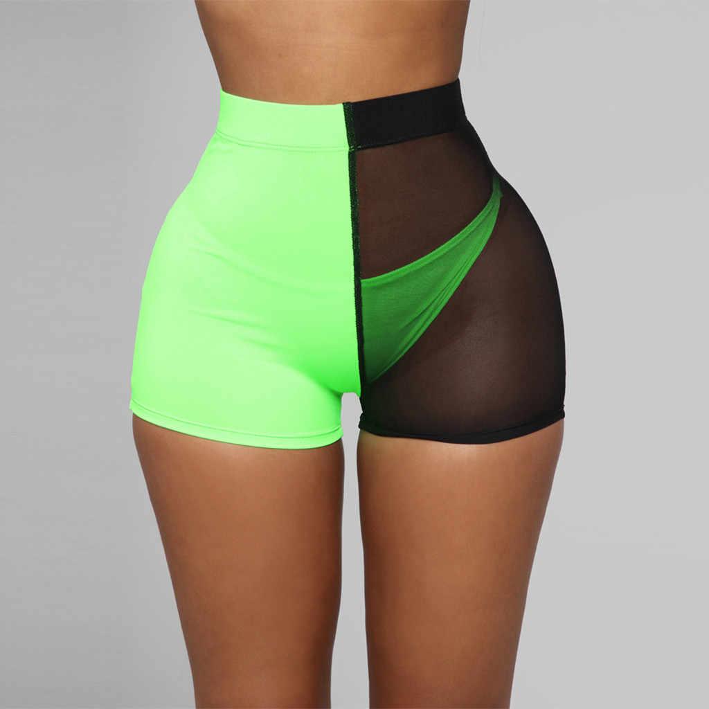 JAYCOSIN 2019 Nieuwe Zomer Vrouwen Shorts Sexy Neon Groene Sport Kant Booty Transparant Workout Tailleband Running Shorts May1016