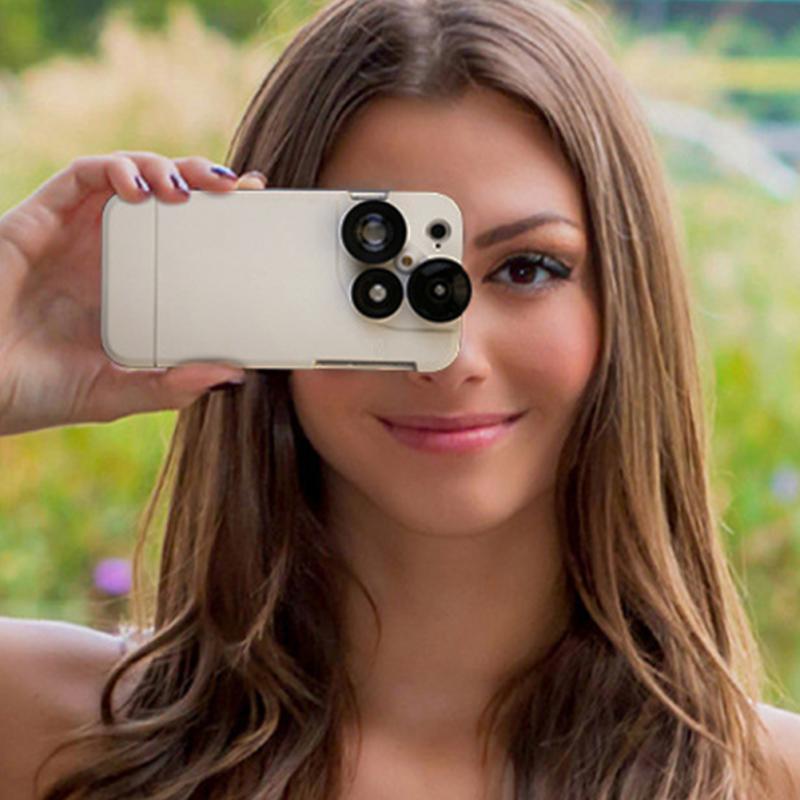 Luxueux 4 En 1 Lentille avec Étui Arrière de Téléphone Portable Pour iPhone 6 6 s 7 Plus Fisheye Grand Angle macro Caméra Lentille