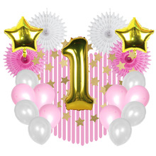 Boy Girl 1st Birthday Party Decoration Set Gold Foil Balloons Star Garland Latex Ballons Crepe Streamers Paper Fans Baby Shower