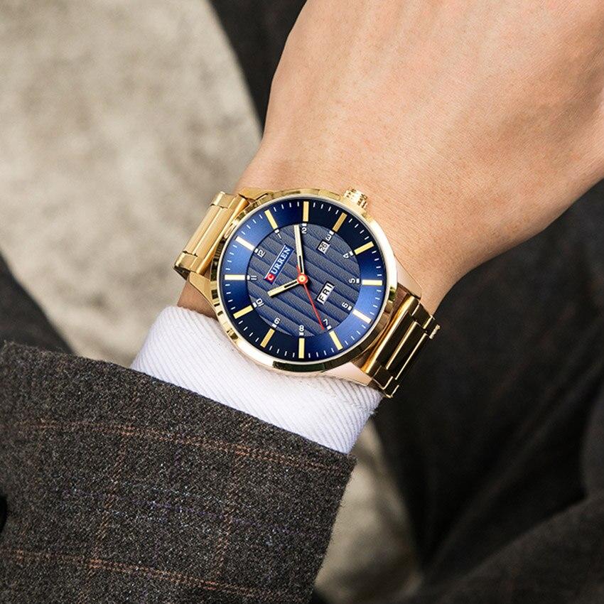 2018 CURREN Gold Quartz Watch Top Brand Luxury Men Watches Fashion Man Wristwatches Stainless Steel Relogio Masculino Saatler 5