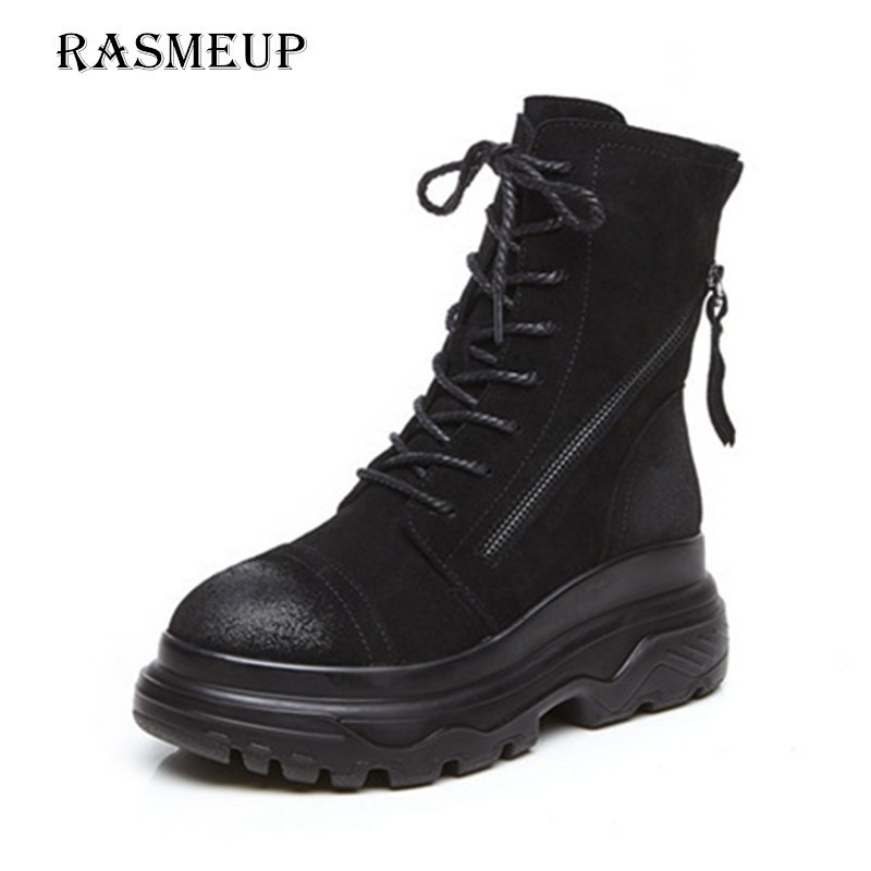 все цены на RASMEUP Genuine Leather Women's Platform Snow Boots Winter Fur Warm Women Ankle Boots 2018 Brand Thick Soled Zipper Woman Shoes онлайн