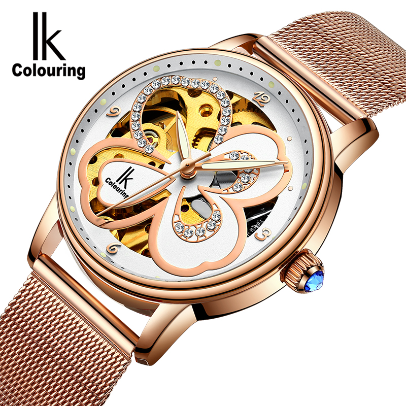 IK Fashion Luxury Brand Wrist Watch Women Automatic Mechanical Watches For Ladies Mechanical Watch Waterproof Relogio Masculino unique smooth case pocket watch mechanical automatic watches with pendant chain necklace men women gift relogio de bolso