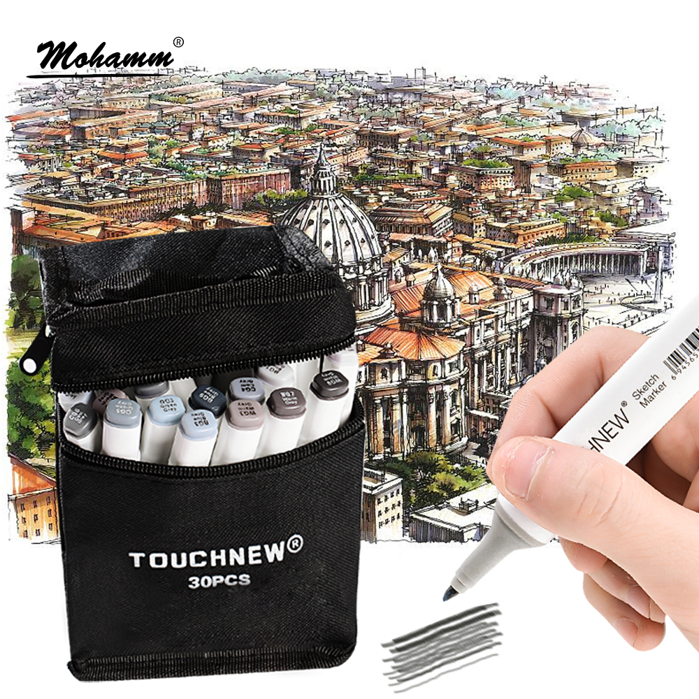 Touchnew 5/10/30 Colors Grayscale Art Marker Pen Double-Ended Sketch Markers Alcohol Based Ink Neutral Gray Tones Art Supplies