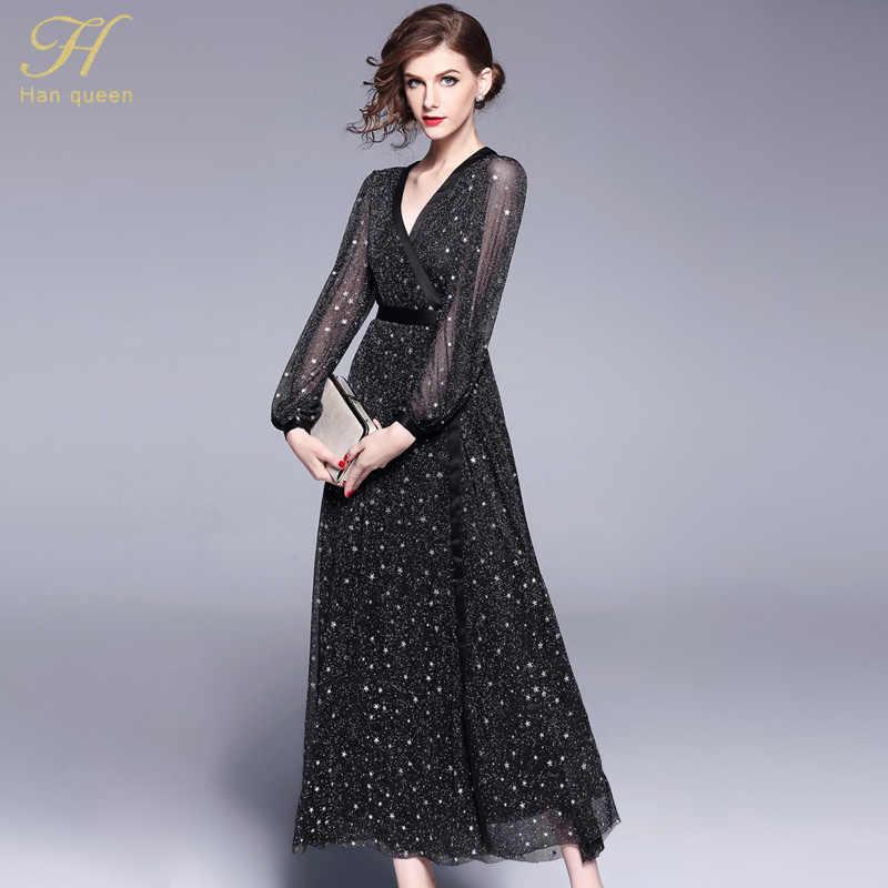 H Han Queen 2018 printemps nouvelles femmes robe mode v-cou élégant travail décontracté Slim Vintage noir paillettes fête Maxi robes