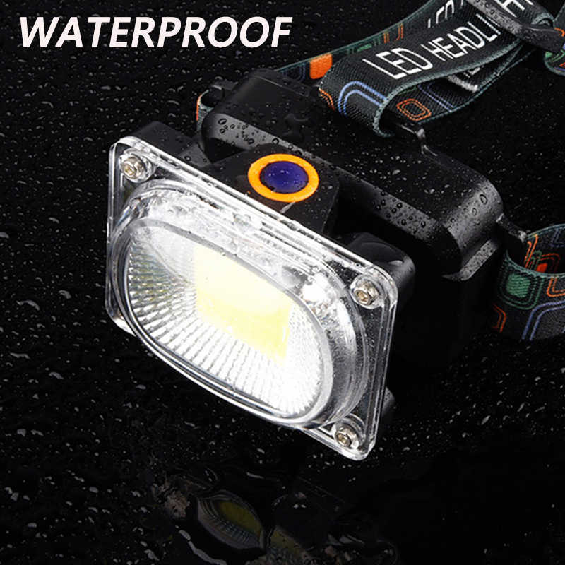 Чип (COB) большой мощности светодиодные фары постоянного тока перезаряжаемая лобовой фонарь с 3 режимами 18650 батарея водонепроницаемый охота и рыбалка Освещение