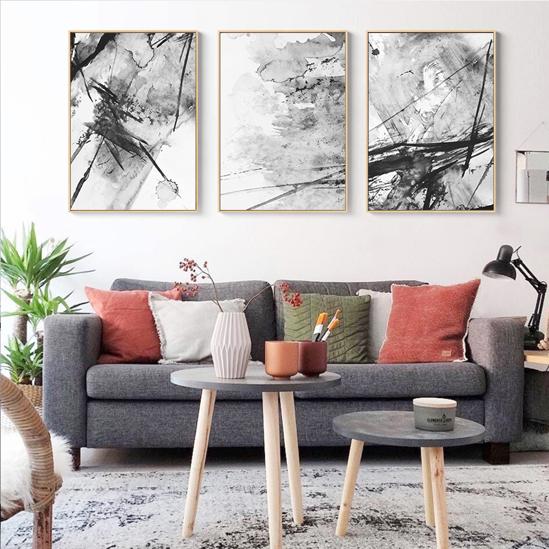 New Abstract Yellow Gray Pink Ink Splash A4 Canvas Painting Art Print - Home Decor