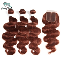 Young look Body Wave 3 Bundles With Closure Brazilian Hair Weave Bundles With 4*4 Lace Closure 33# Color Non Remy Human Hair