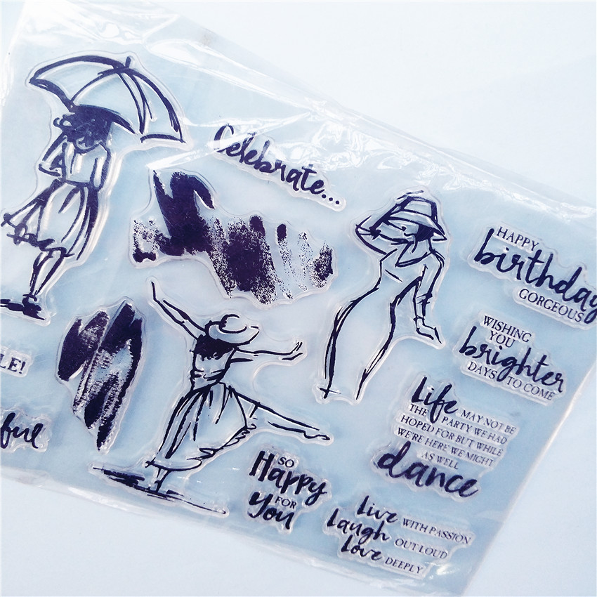Rubber Roller Umbrellas woman Transparent Clear Clear stamp Silicone Seal DIY Scrapbooking photo Album Decorative  Sheets japanese korea stationery portable mini roller secrecy stamp garbled seal graffiti seal teacher secrecy stamp