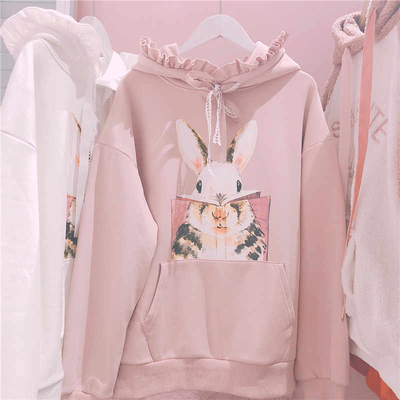 Kawaii Lolita Girls Bunny Rabbit Funny Design Duo Color White Pink Black Green Blue Asymmetrical Pattern Long Sleeves Hoodie