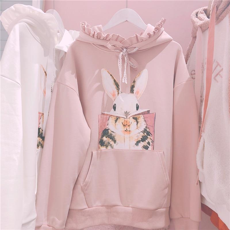 Cute Rabbit Women Bunny Sweatshirt Korean Lovely Graphic Pink Hoodie Japanese Casual Kawaii Lolita Long Sleeve Ruffle Pullover