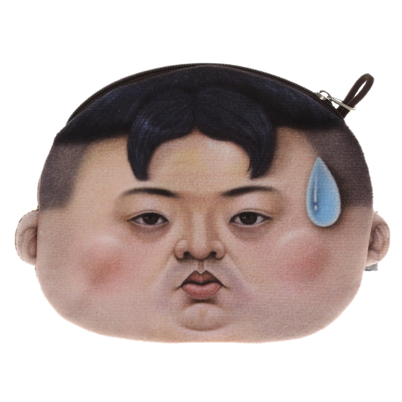 THINKTHENDO Funny Wallet Purse Mini Cartoon Plush-Pouch Zipper Expression 1PC Bag