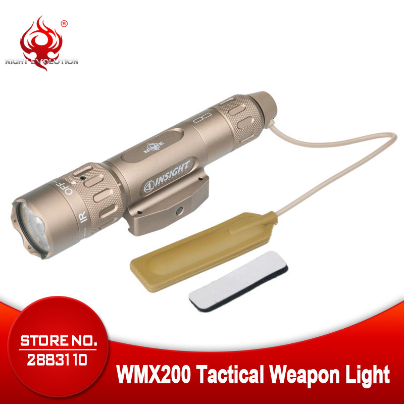 Night Evolution WMX200 Airsoft Weapon Tactical Gun Led Flashlight Strobe IR Light for Picatinny Rail Spotlight