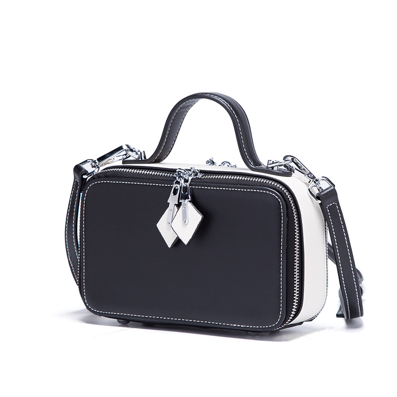 2018 Fashion Lady Patchwork Panelled Handbags Women Messenger Bags Genuine Leather Cowhide Zipper Ladies Mini Camera Bag