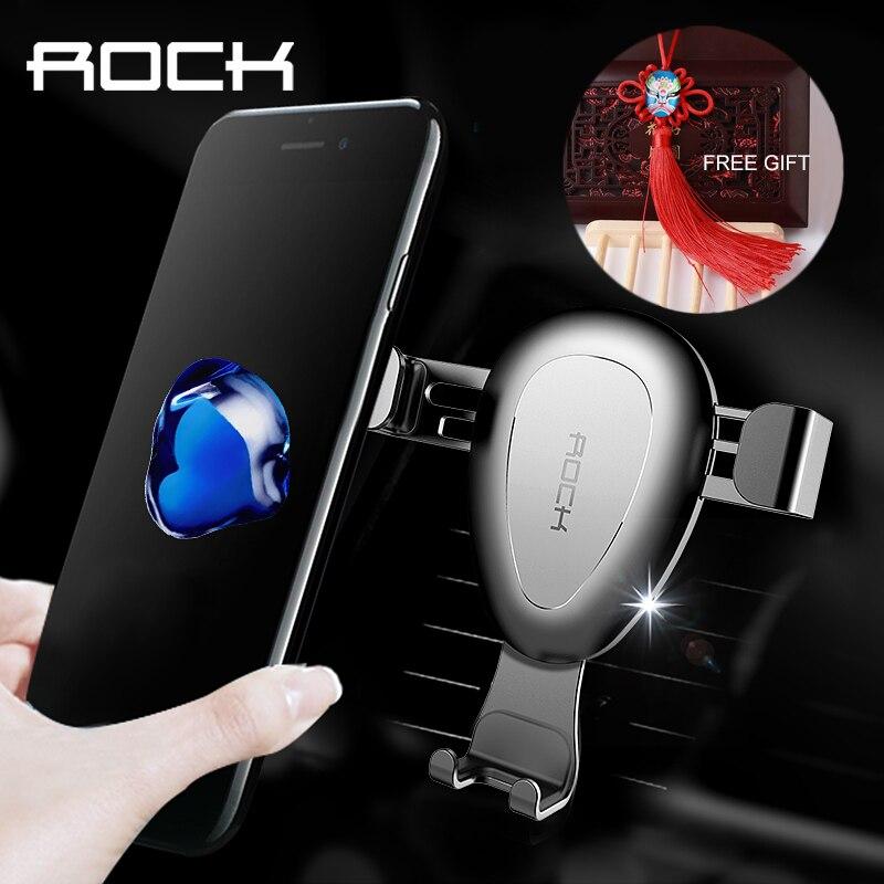 imágenes para ROCA Gravedad Soporte para Coche Para el iphone 7 6 5 Plus Samsung toma De Salida de Aire Del Soporte Universal Para 4-6 Pulgadas Libre regalo