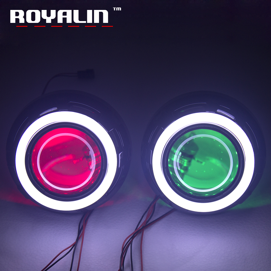 royalin led drl double angel eyes halo rings mini projector lens bi xenon h1 headlight shrouds white red h4 h7 auto lamps diy ROYALIN Metal Xenon Lens 3.0'' H1 Projector Lens w/ Apollo 1.0 Shrouds LED Cutton Light Angel Eyes Halo Rings H4 H7 Car Styling