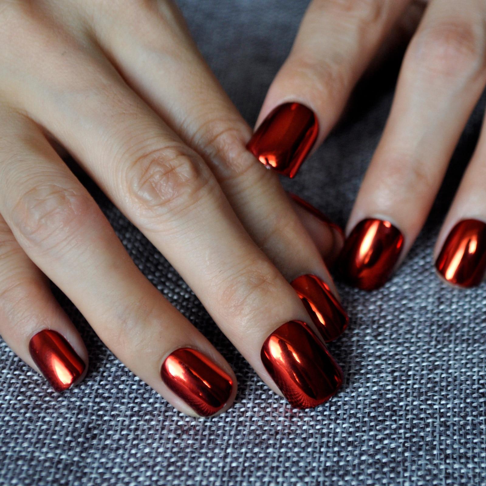 Flat Top Metallic False Nail Tips Sexy Mirror Shine Surface Hot Red ...