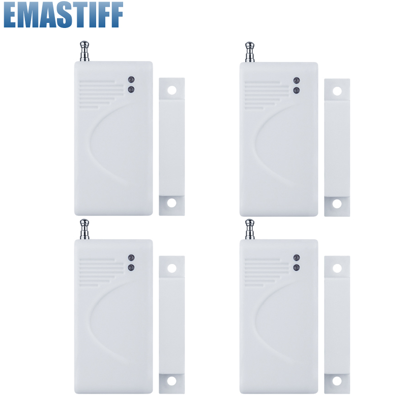 Wireless Door Window Gap Sensor Dector 433MHz 4pcs With Antenna Just For Alarm System wireless vibration break breakage glass sensor detector 433mhz for alarm system