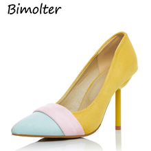Bimolter New Women Flock Pumps High Thin Heels Pointed Toe Casual Office Career Party Fashion Female Shoes Spring Autumn PXEA006