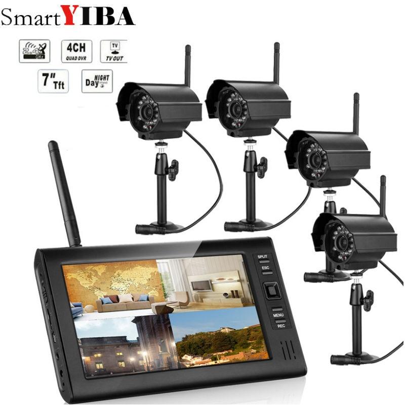 7 inch TFT Digital 2.4G Wireless Cameras Audio Video Baby Monitors 4CH Quad DVR Security System With IR night light 4 Camera цена 2017