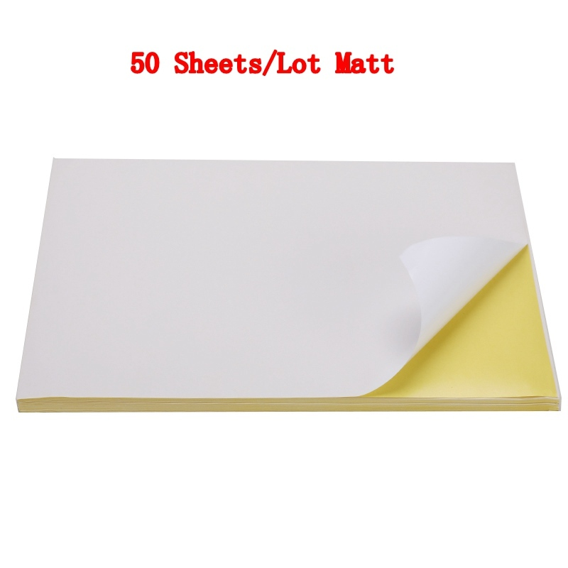 50/100 листа/уп наклейки для ногтей с много A4 глянцевой и матовой крафт клейкая Стикеры для лазерный струйный принтер копир ремесло Бумага самоклеющиеся Стикеры этикетка - Color: 50 sheets Matt